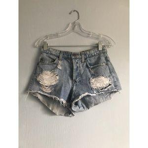 LF Distressed jean shorts